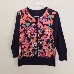 Ann Taylor Factory Floral Button Down Cardigan